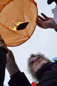 Протестът на артистите в подкрепа на Ранобудните студенти; снимка - Тихомира Методиева